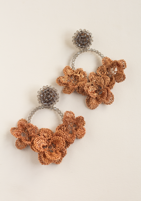 Grey Triple Flower Earrings