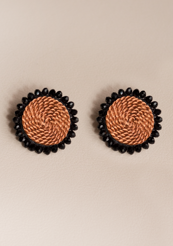 Small Black Circle Earrings