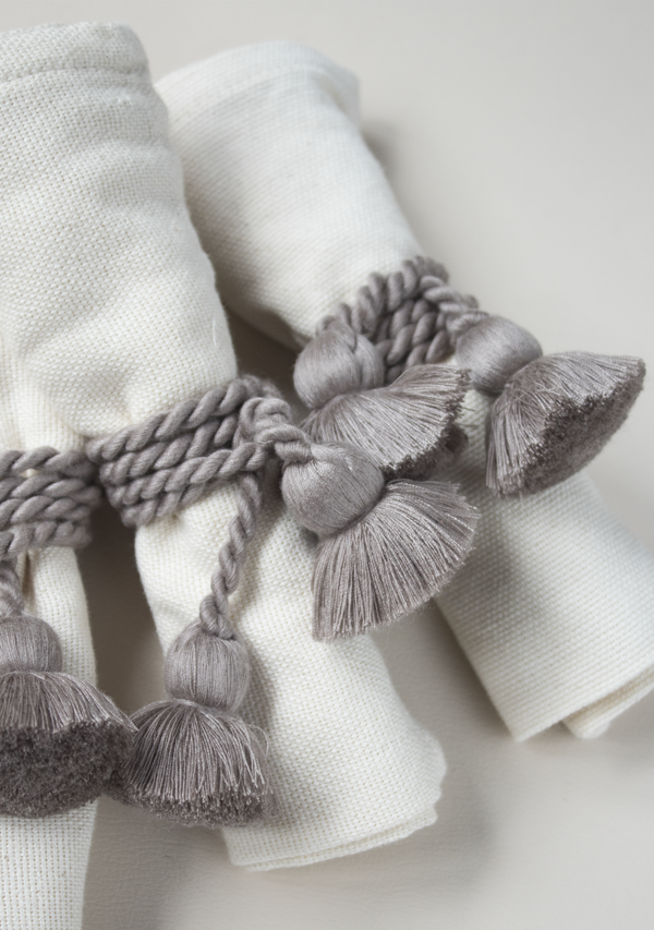 Raw Cotton Napkins and Grey Napkinrings