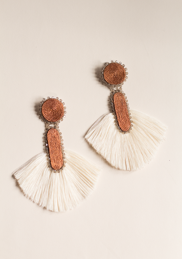 White Cylinder Earrings - Lula Mena