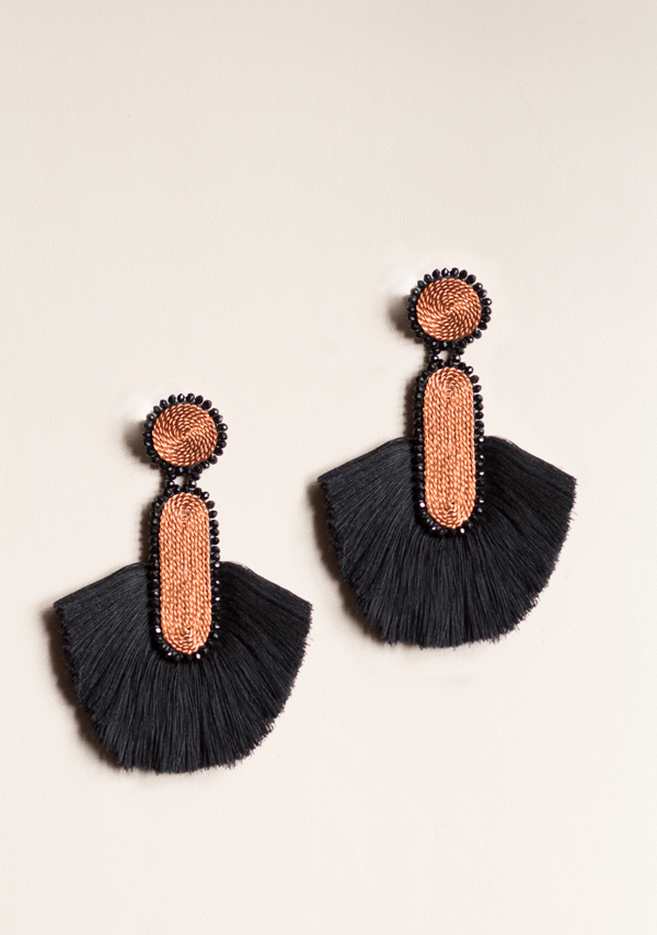Black Cylinder Earrings