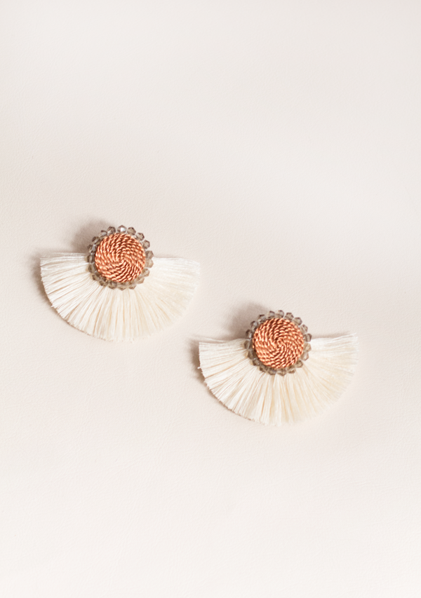 White Moon Earrings