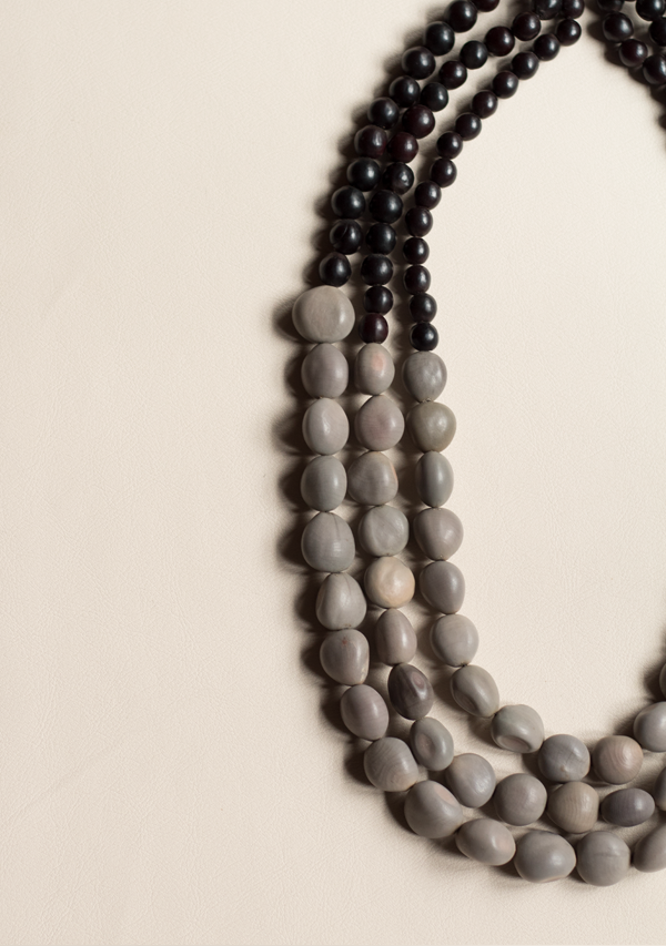 Three Rows Black & Grey Necklace - Lula Mena