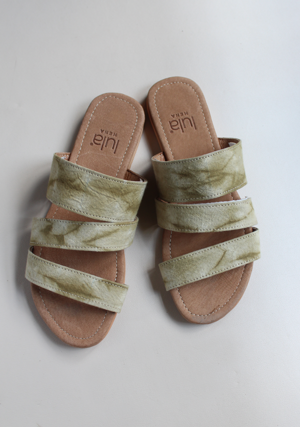 Handwoven Dyed Green Sandals