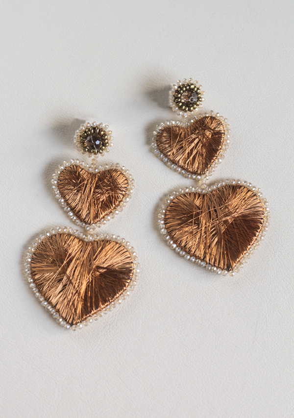 Double Heart Copper Earrings - Lula Mena