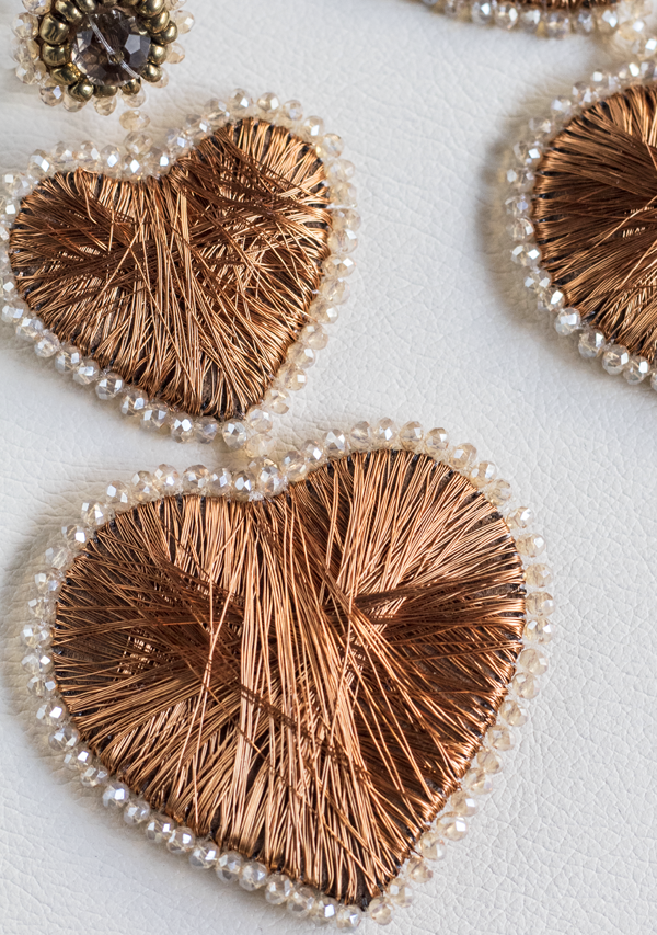 Double Heart Copper Earrings