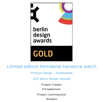 Berlin design award for Mondaine Helvetica Spiekermann edition