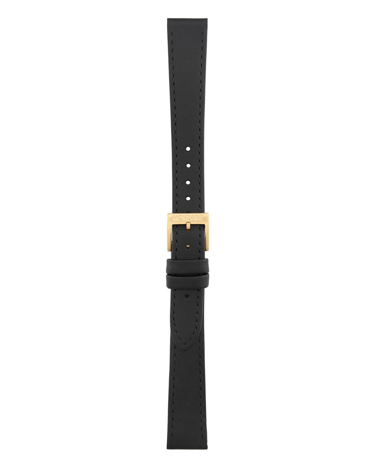 Helvetica No1 Light Black Leather Strap - Mondaine