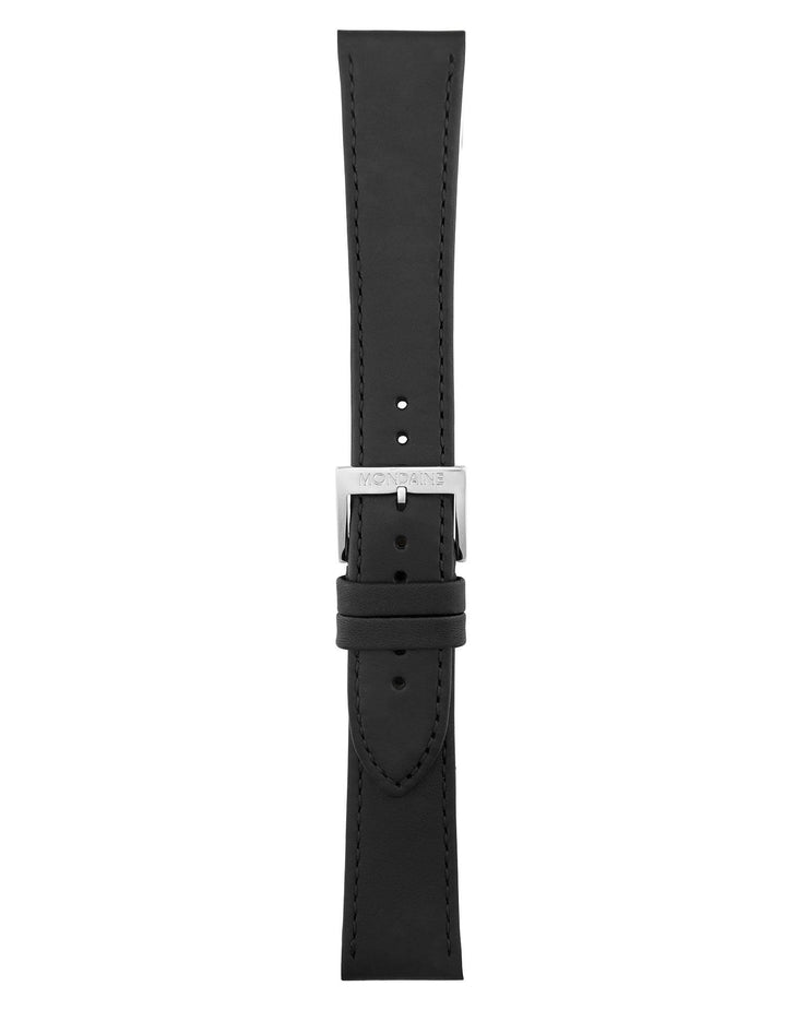 Helvetica No1 Regular Black Leather Strap - Mondaine