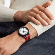 Sustainable Materials: Large Black Case Plaid Watch