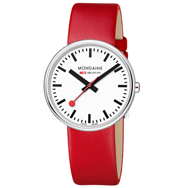 Mondaine Giant Backlight Official Swiss Railways Watch in Red