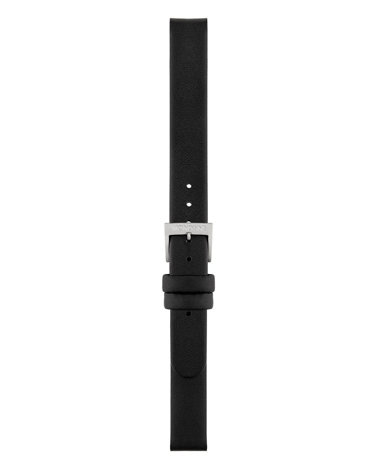 Black Leather Strap Polished - Mondaine