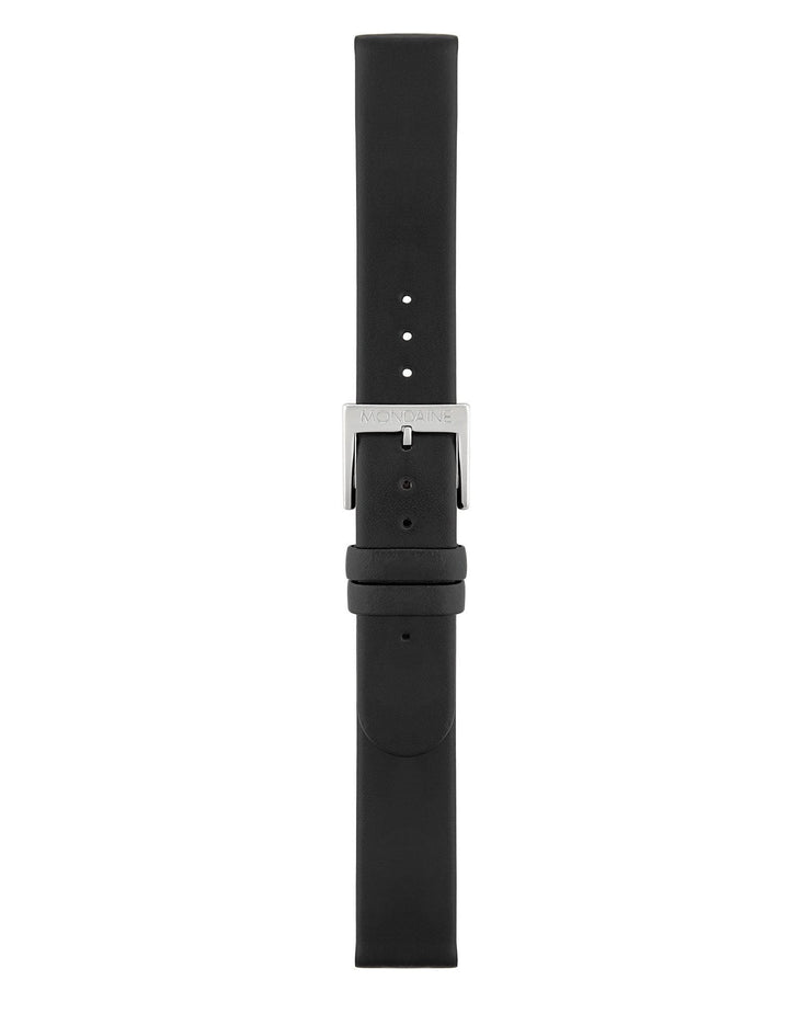 Extra Long Black Leather Strap Polished - Mondaine
