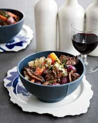 Food and Wine Recipe for Short Ribs with Mushrooms and Spring Vegetables