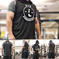Hoodie. Sleeveless T-Shirt (DryFit) - Black w/ White Graphics