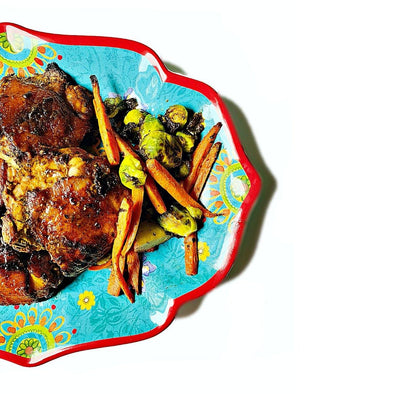 Colorful Eats: Mustard Roasted Chicken Thighs - JulRe Designs LLC