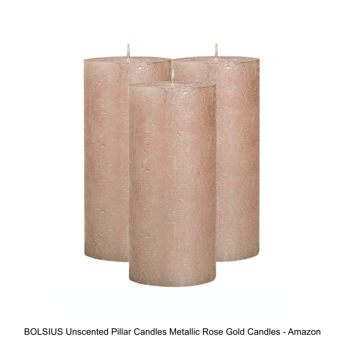 BOLSIUS Unscented Pillar Candles Metallic Rose Gold Candles - Amazon