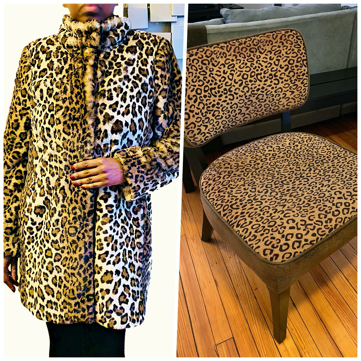 Juliet in Leopard Print Coat from Loft - World Menagerie Cheetah Print Slipper Chair from Wayfair