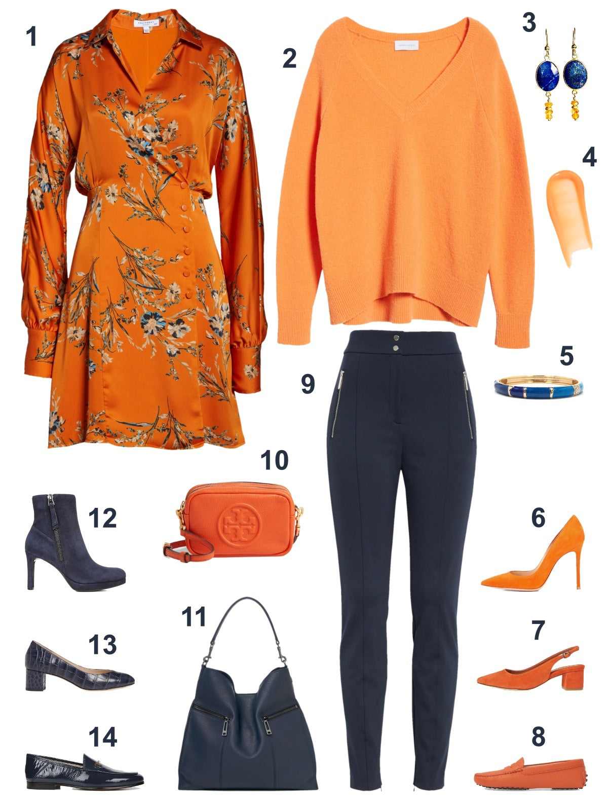 Color Craze: Persimmon Orange and Majolica Blue - Style Board - The Color Lab Blog