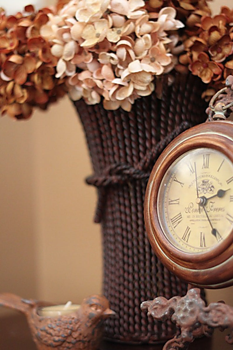 Antique Clock and Peach Dried Flowers