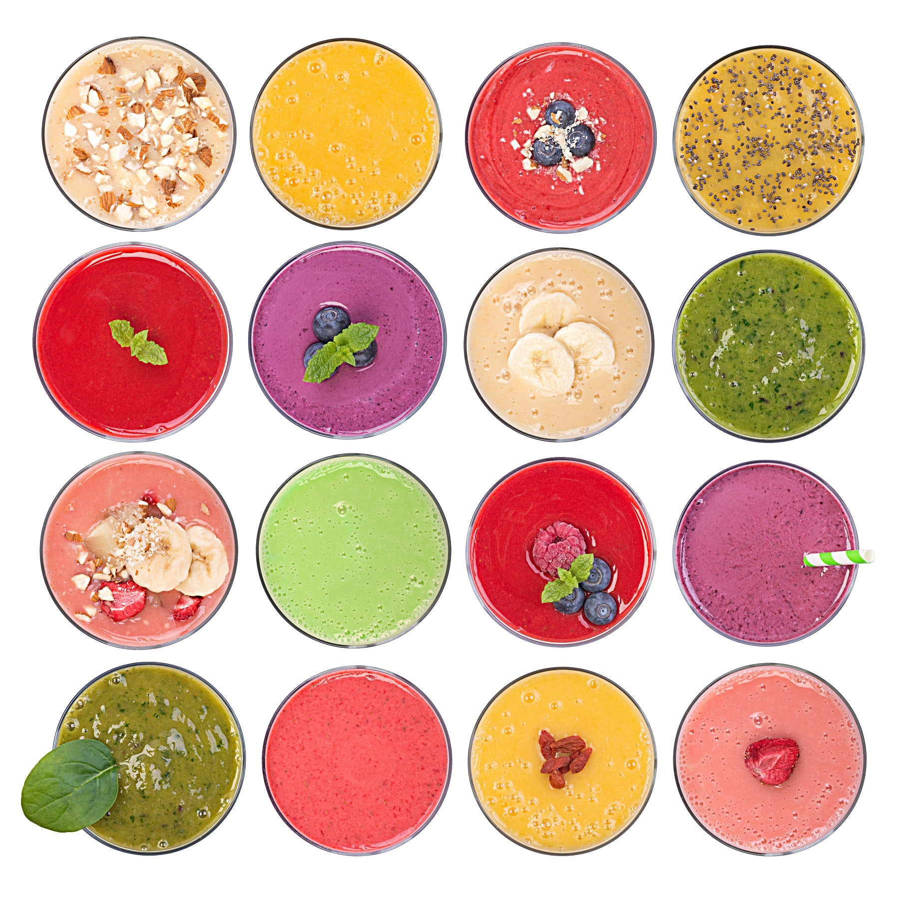 Colorful Fruit Smoothies