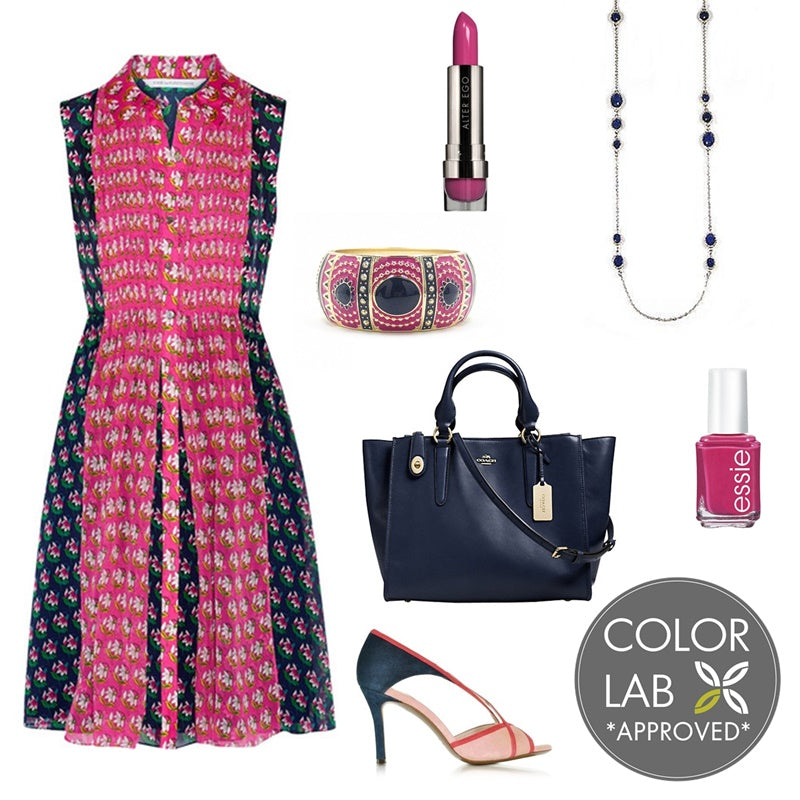 In the Color Lab: Fuchsia and Navy Blue Style Board