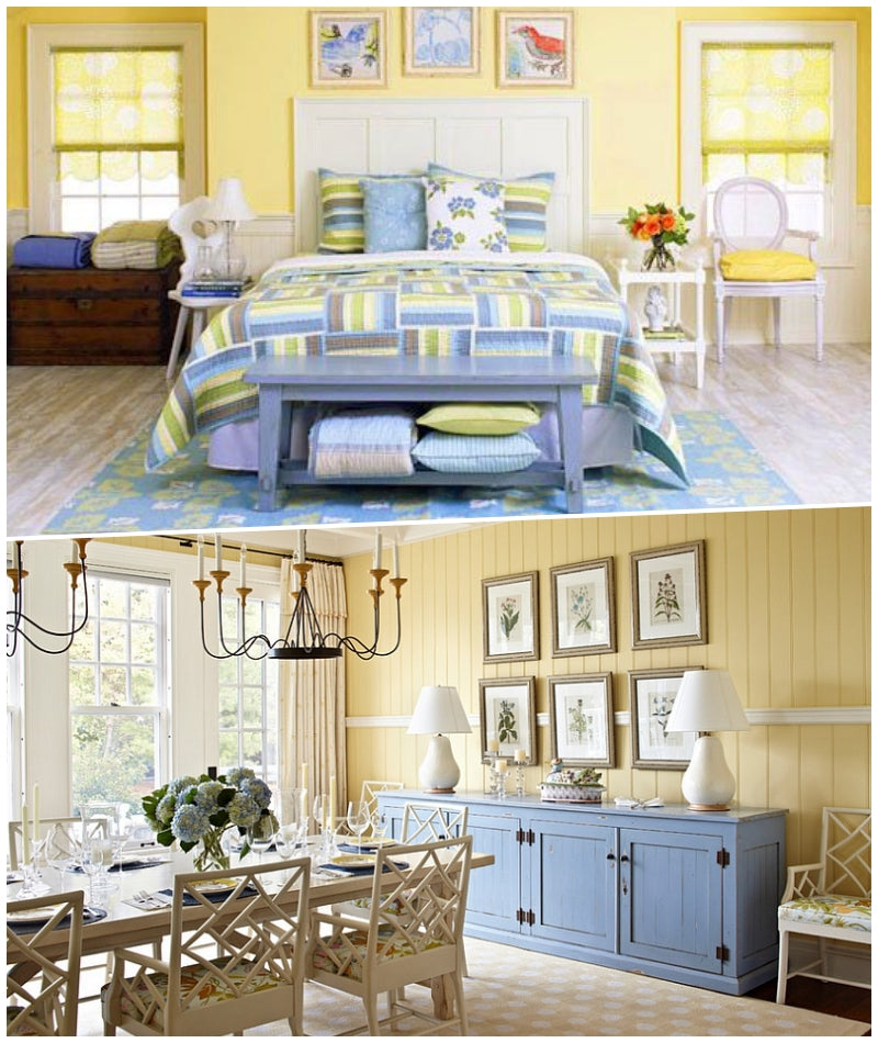 Placid Blue and Yellow Pear - Bedroom and Dining Room