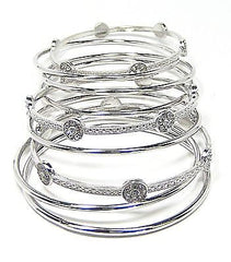 Thea Bangle Bracelets in Silver