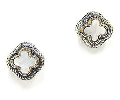 Basia Clover Post Earrings in Mother of Pearl