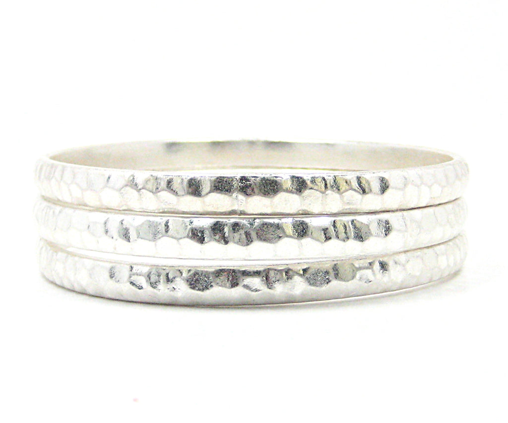 Zina Bangle Bracelets in Matte Silver