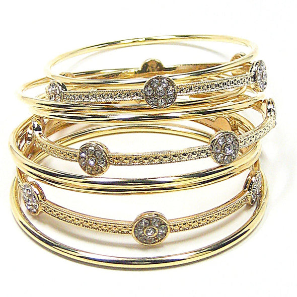 Thea Bangle Bracelets in Gold