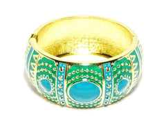 Pia Deco Cuff Bracelet in Turquoise and Teal