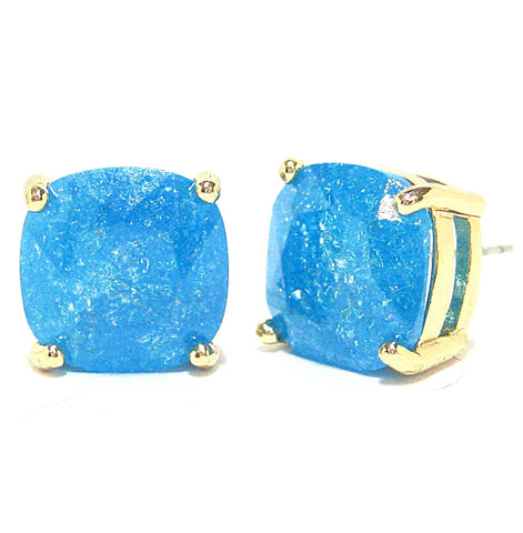Color Pop Cushion Stud Earrings in Peacock Blue