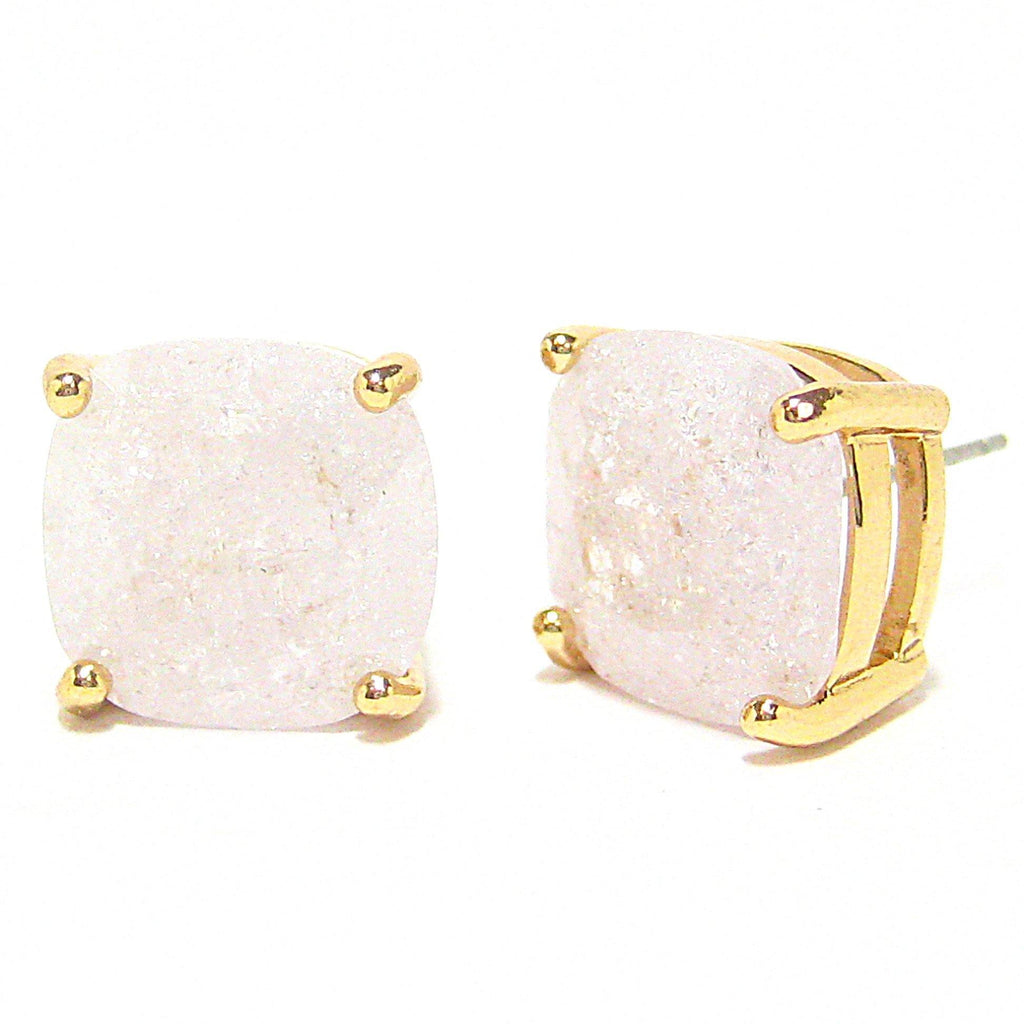 Color Pop Cushion Stud Earrings in White