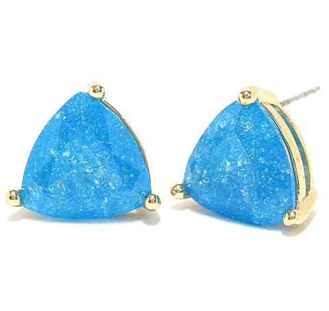 Color Pop Trillion Stud Earrings in Peacock Blue