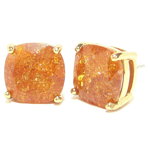 Color Pop Cushion Stud Earrings in Bronze