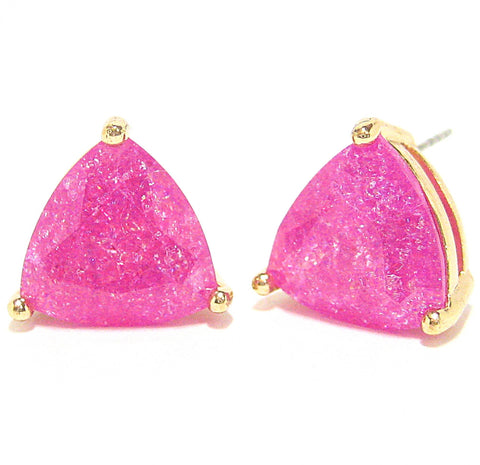 Color Pop Trillion Stud Earrings in Fuchsia