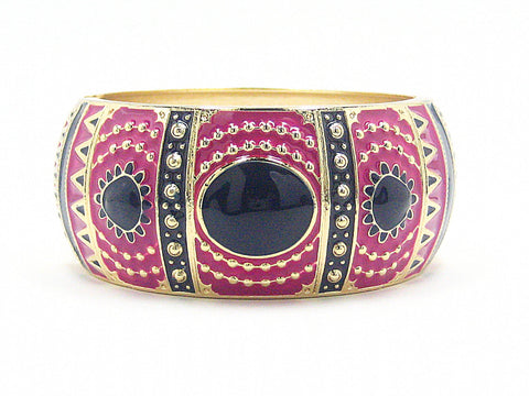Pia Deco Cuff Bracelet in Pink and Blue