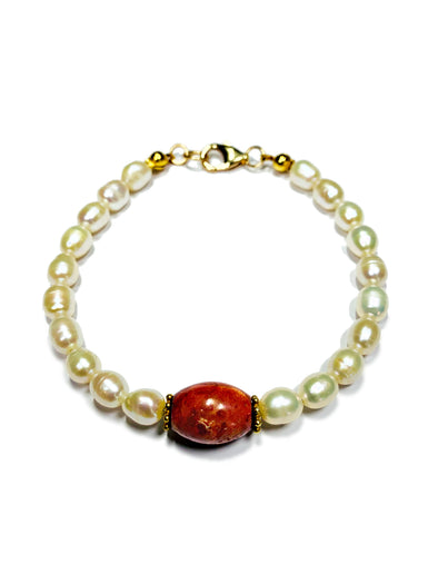 Beach House Bracelet in Coral and Freshwater Pearls