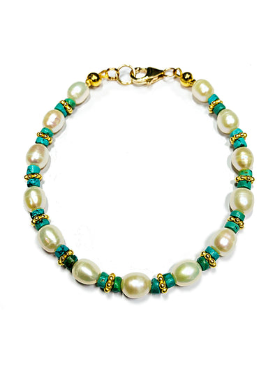 Beach House Bracelet in Turquoise and Freshwater Pearls