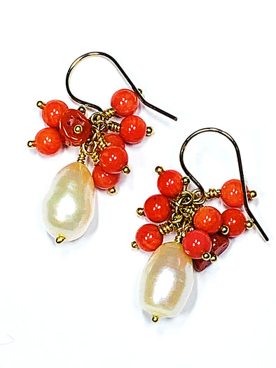 Beach House Earrings in Coral and Baroque Pearls