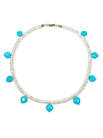 Beach House Necklace in Sleeping Beauty Turquoise and Freshwater Pearls