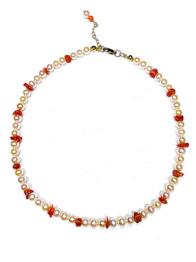 Beach House Choker Necklace in Coral and Freshwater Pearls