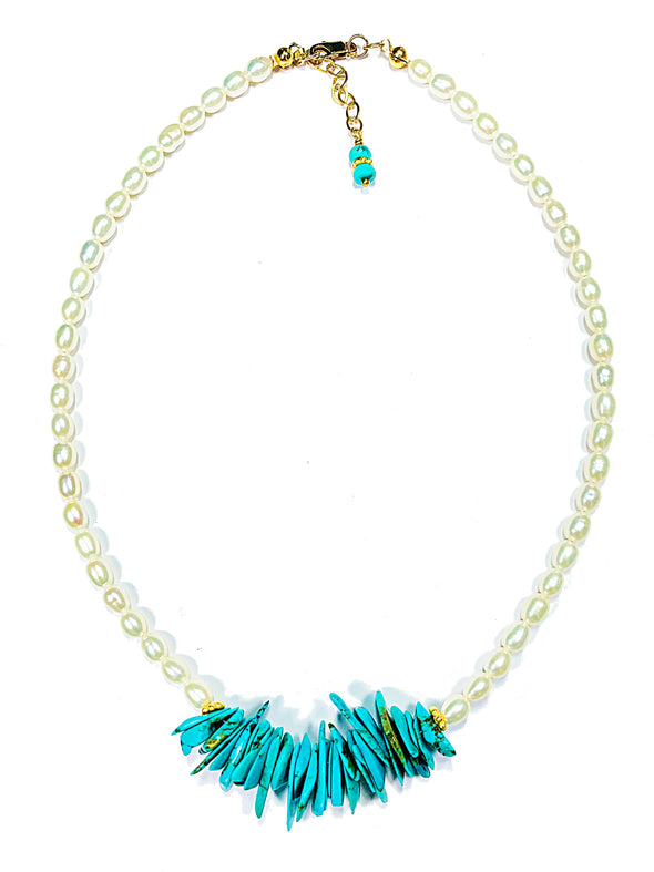 Beach House Necklace in Turquoise and Freshwater Pearls