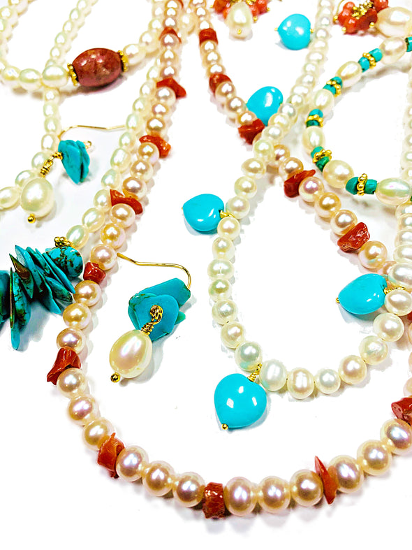 Beach House Earrings in Turquoise and Baroque Pearls