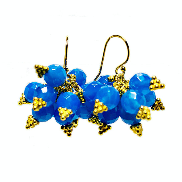 Brilliante Earrings in Blue Agate - JulRe Designs LLC