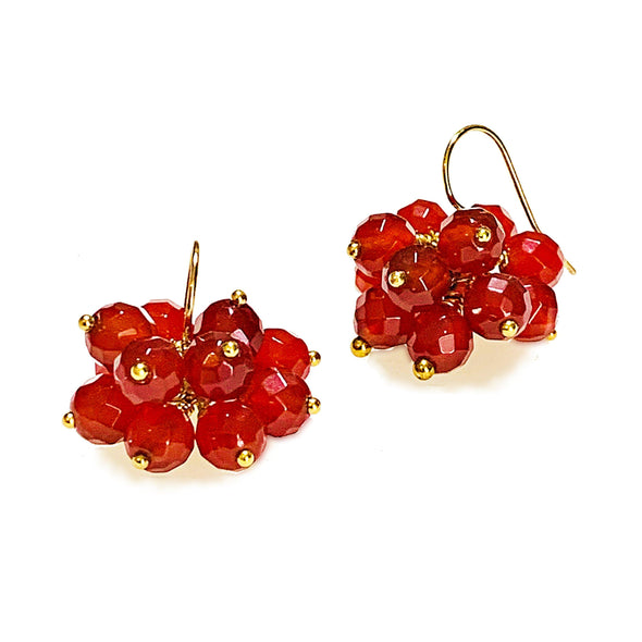 Brilliante Earrings in Red Agate - JulRe Designs LLC