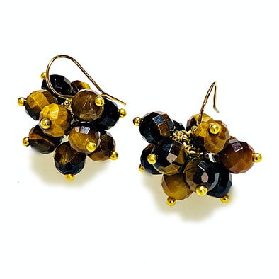 Brilliante Earrings in Tiger Eye - JulRe Designs LLC
