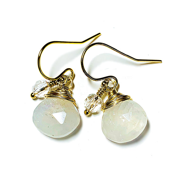 Color Drop Earrings in Moonstone and Clear Quartz - JulRe Designs LLC