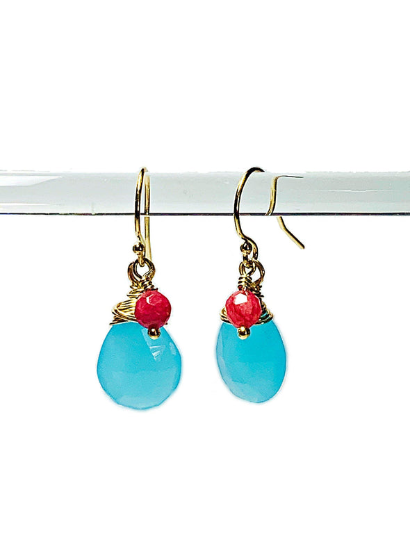 Color Drop Earrings in Blue and Pink Chalcedony